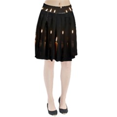 Hanukkah Chanukah Menorah Candles Candlelight Jewish Festival Of Lights Pleated Skirt by yoursparklingshop
