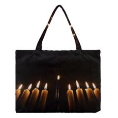 Hanukkah Chanukah Menorah Candles Candlelight Jewish Festival Of Lights Medium Tote Bag by yoursparklingshop