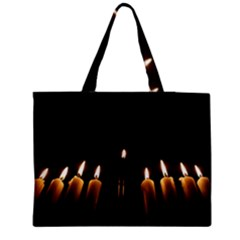 Hanukkah Chanukah Menorah Candles Candlelight Jewish Festival Of Lights Medium Zipper Tote Bag by yoursparklingshop
