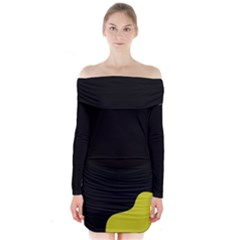 Black And Yellow Long Sleeve Off Shoulder Dress