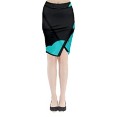 Black And Cyan Midi Wrap Pencil Skirt by Valentinaart