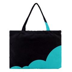 Black And Cyan Medium Tote Bag by Valentinaart