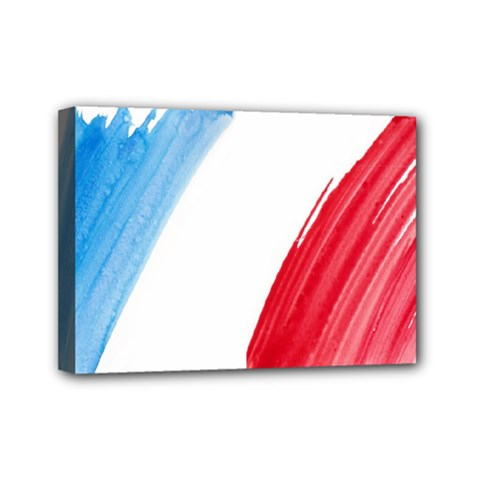 Tricolor Banner Flag France, Blue White Red Watercolor Mini Canvas 7  X 5  by picsaspassion