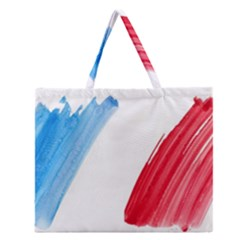 Tricolor banner flag France, blue white red watercolor Zipper Large Tote Bag by picsaspassion