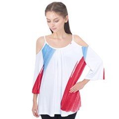 Tricolor banner flag France, blue white red watercolor Flutter Tees by picsaspassion