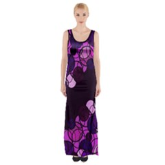 Purple Bubbles Maxi Thigh Split Dress by Valentinaart