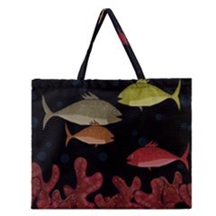 Corals Zipper Large Tote Bag by Valentinaart