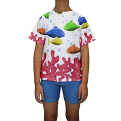 Corals and fish Kids  Short Sleeve Swimwear by Valentinaart