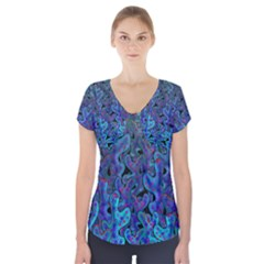 Blue coral Short Sleeve Front Detail Top by Valentinaart