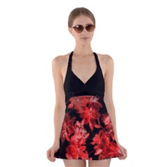 Red Flower  Halter Swimsuit Dress by Brittlevirginclothing
