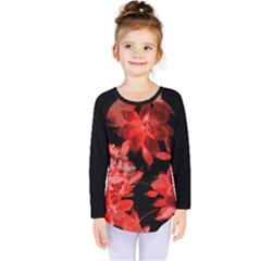 Red Flower  Kids  Long Sleeve Tee by Brittlevirginclothing