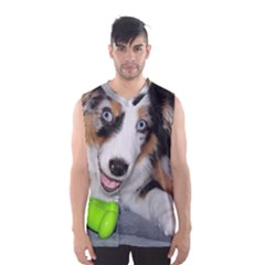 Australian Shepherd Blue Merle Puppy With Green Toy Men s Basketball Tank Top by TailWags