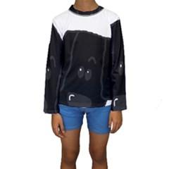 Peeping Newfie Kids  Long Sleeve Swimwear by TailWags