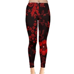 Small Red Roses Leggings  by Brittlevirginclothing