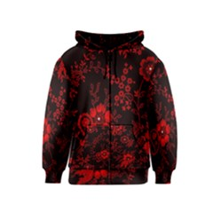 Small Red Roses Kids  Zipper Hoodie by Brittlevirginclothing