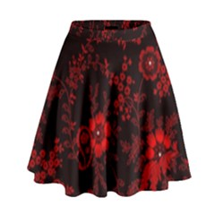 Small Red Roses High Waist Skirt by Brittlevirginclothing