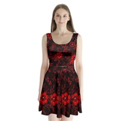 Small Red Roses Split Back Mini Dress  by Brittlevirginclothing