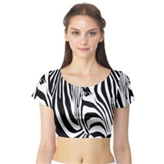 Animal Cute Pattern Art Zebra Short Sleeve Crop Top (tight Fit)