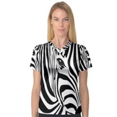 Animal Cute Pattern Art Zebra Women s V Neck Sport Mesh Tee