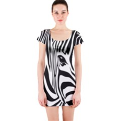 Animal Cute Pattern Art Zebra Short Sleeve Bodycon Dress