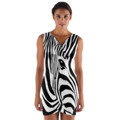 Animal Cute Pattern Art Zebra Wrap Front Bodycon Dress