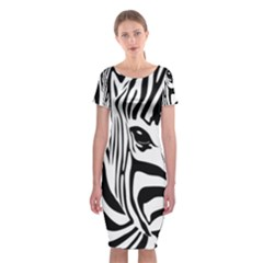 Animal Cute Pattern Art Zebra Classic Short Sleeve Midi Dress