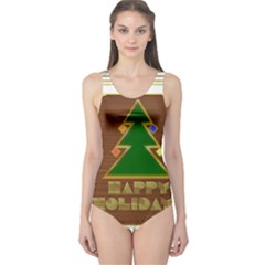 Art Deco Holiday Card One Piece Swimsuit