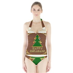 Art Deco Holiday Card Halter Swimsuit