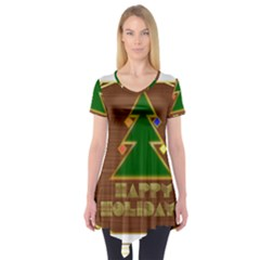Art Deco Holiday Card Short Sleeve Tunic