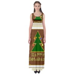 Art Deco Holiday Card Empire Waist Maxi Dress
