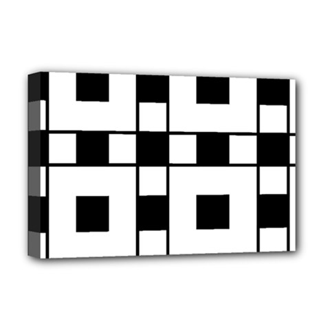 Black And White Pattern Deluxe Canvas 18  X 12   by Amaryn4rt