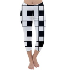 Black And White Pattern Capri Winter Leggings