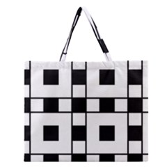 Black And White Pattern Zipper Large Tote Bag by Amaryn4rt
