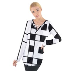 Black And White Pattern Women s Tie Up Tee
