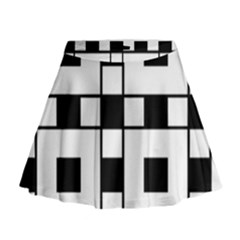 Black And White Pattern Mini Flare Skirt