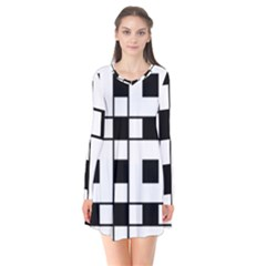 Black And White Pattern Flare Dress