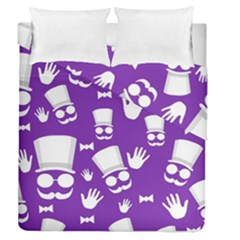 Gentleman pattern - purple and white Duvet Cover Double Side (Queen Size) by Valentinaart