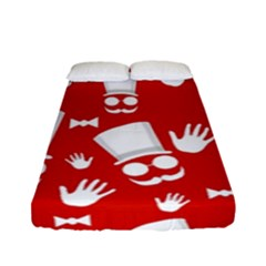 Gentlemen   Red And White Pattern Fitted Sheet (full/ Double Size) by Valentinaart