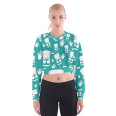 Gentleman Pattern Women s Cropped Sweatshirt by Valentinaart