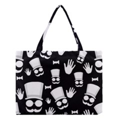 Gentleman   Black And White Pattern Medium Tote Bag by Valentinaart