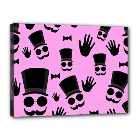 Gentleman   Pink Pattern Canvas 16  X 12  by Valentinaart