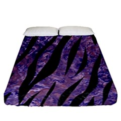 Skin3 Black Marble & Purple Marble (r) Fitted Sheet (queen Size)