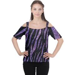 Skin3 Black Marble & Purple Marble Cutout Shoulder Tee by trendistuff