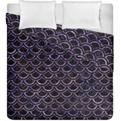 Scales2 Black Marble & Purple Marble Duvet Cover Double Side (king Size) by trendistuff