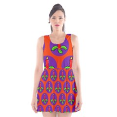 Christmas Candles Seamless Pattern Scoop Neck Skater Dress by Amaryn4rt