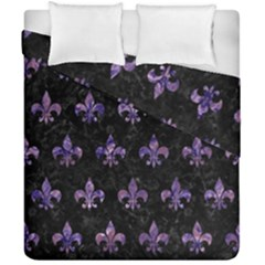 Royal1 Black Marble & Purple Marble (r) Duvet Cover Double Side (california King Size) by trendistuff