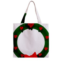 Holiday Wreath Zipper Grocery Tote Bag