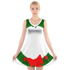 Holiday Wreath V Neck Sleeveless Skater Dress