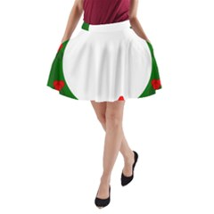 Holiday Wreath A Line Pocket Skirt
