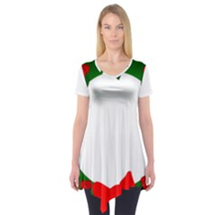 Holiday Wreath Short Sleeve Tunic
